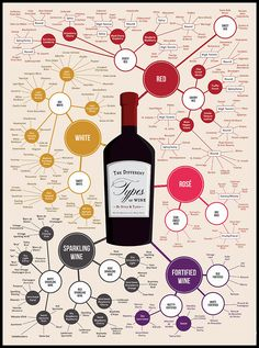 The Universe of Wine Infographic-Style: Do you know all of the different types of wine? This infographic organizes almost 200 types of wine by taste and style. Take advantage of this chart as a great way to discover new types of wine for National Wine Day Guide Vin, Wine Guide, Wein Poster, Art Du Vin, Wine Infographic, In Vino Veritas, Different Types Of Wine, Wine Types, Grape Types