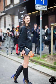 coz she killed it. JJ in Givenchy #offduty in Milan. #JacquelynJablonski