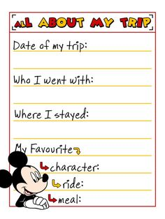 """All about my trip - Mickey Mouse - UK spelling - Project Life Journal Card - Scrapbooking ~~~~~~~~~ Size: 3x4"""" @ 300 dpi. This card is **Personal use only - NOT for sale/resale** Clipart belongs to Disney. Fonts are Minnie www.dafont.com/minnie.font and Sugarpie www.dafont.com/sugarpie2.font *** Click through to photobucket for more versions of this card including US spelling of """"favorite"""" and Minnie Mouse versions :) ***"""