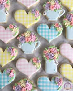 When you make a custom set that matches your Mother's Day cookies so well, you have to photograph them together! Happy Mother's day to all… Mother's Day Cookies, Soft Sugar Cookies, Summer Cookies, Fancy Cookies, Valentine Cookies, Iced Cookies, Easter Cookies, Birthday Cookies, Royal Icing Cookies