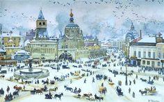 The Lubyanskaya Square in Winter, 1905 by Konstantin Yuon. Impressionism. cityscape. Tretyakov Gallery, Moscow, Russia