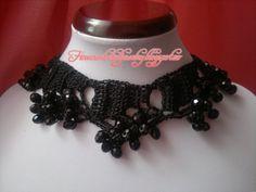 Crochet Gothic necklace Crochet Necklace, Gothic, Jewelry, Goth, Jewlery, Crochet Collar, Bijoux, Schmuck, Jewerly