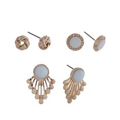 $8.00 Gold tone three pair earring set with knot studs, light blue stone studs and light blue studs with metal fringe.