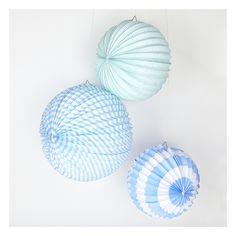 3 Accordion Paper Lantern - Pastel Blue Party Decorations