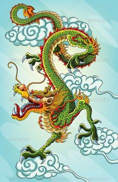 chinese dragon painting for your chinese new year 2012 celebration. - chinese dragon painting for your chinese new year 2012 celebration. This illustration contains a tr - Chinese Dragon Drawing, Chinese Dragon Tattoos, Japanese Dragon, Japanese Art, Chinese Painting, Chinese Art, Chinese Zodiac, Tribal Dragon, Arrow Tattoo