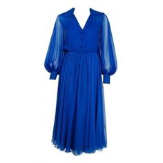 1973 Christian Dior Demi-Couture Sapphire Blue Silk Chiffon... (€1.295) ❤ liked on Polyvore featuring dresses, blue day dress, silk chiffon dress, couture dresses, christian dior and blue dress