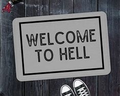 Funny Doormat, Welcome Mat, Welcome To Hell, Quote Doormat,Unique Doormat,Welcome Front Door Mat,Introvert,Housewarming Gift,Closing Gift