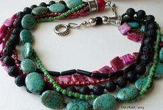 Chunky multi-strand necklace by DatzKatz Designs