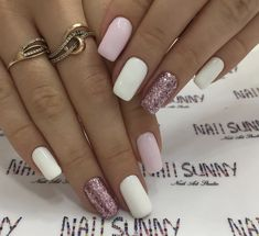 A manicure is a cosmetic elegance therapy for the finger nails and hands. A manicure could deal with just the hands, just the nails, or Pink Nails, Gel Nails, Nail Polish, Pink White Nails, White Manicure, Shellac, Stylish Nails, Trendy Nails, Casual Nails