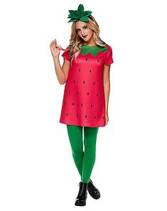 Fruit Halloween Costumes, Cute Costumes, Pirate Costumes, Princess Costumes, Girl Group Costumes, Costumes For Teens, Woman Costumes, Strawberry Halloween, Diy Strawberry Costume