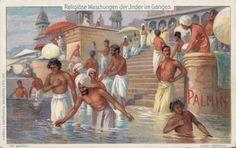 [Abluzioni religiose degli indiani nel Gange], 1903-14 Indiana, German, People, Painting, Museum, Art, Deutsch, German Language, Painting Art