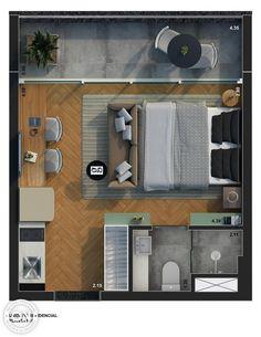 Studio Apartment Floor Plans, Studio Apartment Decorating, Bedroom Floor Plans, Apartment Plans, House Floor Plans, Studio Apartment Layout, Small Apartment Interior, Small Apartment Design, Small House Design