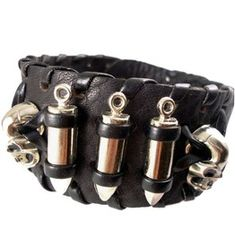 Vintage Bullets Skull Heads Snap Button Leather Band