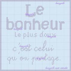 free-bonheur Phrase Disney, Shabby, Blackwork, Messages, Cross Stitch, Bullet Journal, Free, Monochrome, Vintage Cross Stitches