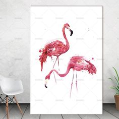 canvas painting Watercolor Flamingo Canvas Art Print Painting Poster, Wall Pictures for Home Decoration, Giclee Print Wall Decor Canvas Wall Decor, Canvas Art Prints, Wall Prints, Wall Pictures, Home Pictures, Simple Wall Art, Poster Wall, Picture Wall, Flamingo
