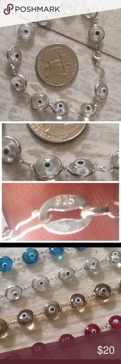 Evil Eye 925 Sterling Silver Bracelet Evil Eye Bead Greek Mati Jewish Hamsa Kabbalah 925 Sterling Silver Bracelet   925 stamped sterling silver   Lobster claw Jewelry Bracelets