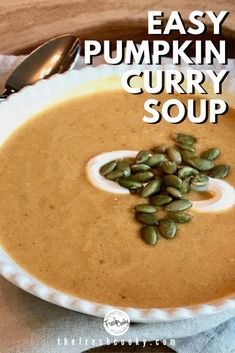 This creamy pumpkin curry soup whips up in minutes! Serve for a luncheon or as a light dinner. Vegetarian and easily adapted to be dairy free, this pumpkin soup is the best! Recipe and swaps via @thefreshcooky | #soup #fallsoup #easyrecipes #autumn