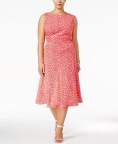 84c6b2de3090a Jessica Howard Plus Size Floral-Print Ruched A-Line Dress & Reviews -  Dresses - Women - Macy's