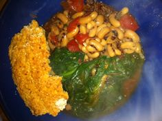 Fulenn's Kitchen: Bean and Spinach soup over Red Cargo Rice
