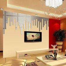 100 Pcs 3D DIY Mosaik Acryl Spiegel Wandtattoo Wandsticker Wanddeko  Aufkleber