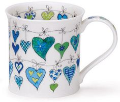 Dunoon - Fine Bone China Mugs - Bute Shape : Heartstrings Blue