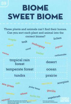 Worksheets: Biome Sweet Biome