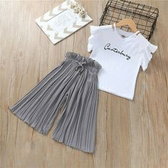 Summer 2019 Girls Clothing Sets Kids T-shirt +Wide Leg Pants Suits Children Short Sleeve Baby Girl Clothes 5 6 7 8 9 10 12 Years Girls Summer Outfits, Toddler Girl Outfits, Baby Girl Dresses, Summer Girls, Kids Outfits, Baby Girls, Toddler Pants, Summer Baby, Toddler Girls