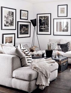 black and white interior design gives this space a modern look
