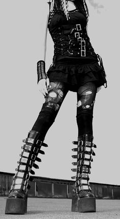 Gothic, Tights, Corset, Boots. i would totally wear this but not all together…