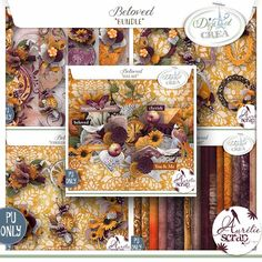 "Bundle ""Beloved"" by Aurélie Scrap. Such warm colors are in this automnal kit. Beloved - digital scrapbooking kit by Aurelie Scrap. The shiny kit is full of sunny colors and is perfect to document everyday moments of your shining & autumnal moments. @aureliescrap"