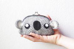 Items similar to Koala crochet purse clutch, coin purse made to order on Etsy Bag Patterns To Sew, Tote Pattern, Crochet Patterns, Sewing Patterns, Coin Purse Tutorial, Zipper Pouch Tutorial, Tote Tutorial, Koala Kids, Koala Bears