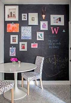 chalkboard wall with spotted chair