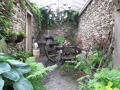 I absolutely LOVE this!  The ruggedness of the walls, the large leaf foliage - a dream space!