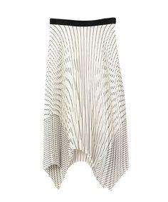 NINE(ナイン)のストライププリーツスカート(デニムパンツ) ホワイト