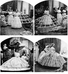 Generous skirts were favored since the 1830's, but the invention of the hoop crinoline in 1858, which allowed women to discard heavy petticoats, gave birth to a monstrosity never seen since. Women suffered the discomfort while the cartoonists were delighted with the situation.