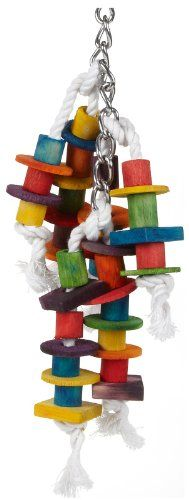 $9.99-$9.99 This parrot toy is loaded with a variety of colorful wood components, intended to provide activity, and entertainment while offering lots to chew. A Bundle Of Wood Chew Toys Assembled On Cotton Rope Encourages Your Pet To Manipulate Objects.