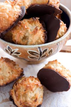 One of my all time favorite cookie recipes: Chocolate Dipped Coconut Macaroons