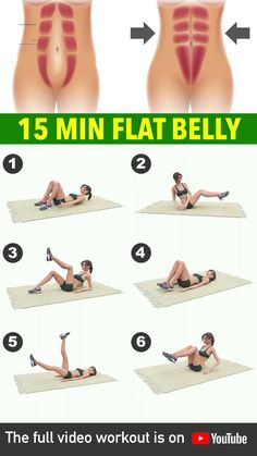 15 Min Workout For Flat Belly Home Body Weight Workout, Full Body Gym Workout, Gym Workout Videos, Flat Belly Workout, Gym Workout For Beginners, Fitness Workouts, Squat Workout, Workout Women, Workout Stomach
