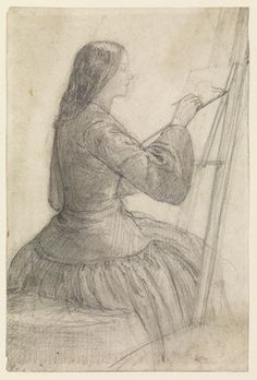 """Siddal painting, Rossetti - Ford Madox Brown wrote of Rossetti's countless drawings of her, saying """"God knows how many, but not bad work, I should say, for the six years he had known her; it is like a monomania with him.  Many of them are matchless in beauty, however, and one day will be worth large sums."""""""