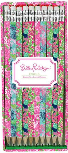Office Candy -Lilly Pulitzer Pencils .. so pretty for your desk. OfficeCandy.com Use code 10124 for 10% off!