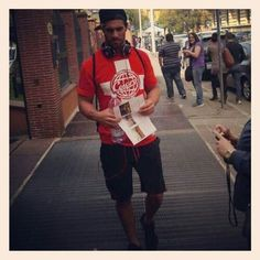 Seth Rollins walking down the street doing his thing. So oblivious to people staring!