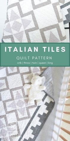 Italian Tiles Quilt Pattern by Amy Schelle of Sewn. Modern quilt pattern inspired by the old marble tiles of Italy. Great for low volume quilt, scrappy quilt and fat quarter friendly. #sewnhandmade #sewnhandmadepatterns #italiantilesquiltpattern #fatquarterfriendly #scrappyquilt #lowvolumequilt #modernquilt