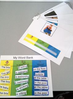 Sentence building activity, color-coded to add visual clarity