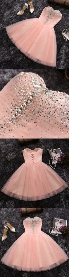 Blush pink tulle with rhinestone beaded short prom dress,2017 homecoming dress #shortpromdresses