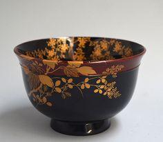 Exquisite Gold Maki-e Lacquer Meiji p. Haisen Bowl