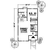 Cottage Style House Plan - 3 Beds 2 Baths 1085 Sq/Ft Plan #50-234 Floor Plan - Main Floor Plan - Houseplans.com