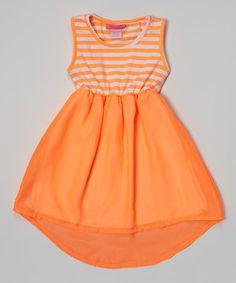 This Orange Stripe Hi-Low Dress - Girls by Girls Luv Pink is perfect! #zulilyfinds