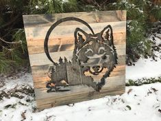 Rustic Wolf Silhouette Wood Wall Art by Bayocean Rustic Design Wolf Silhouette, Rustic Design, Wood Design, Scroll Saw Patterns, Pallet Art, Chalk Pastels, Wood Cutouts, Wood Engraving, Picture On Wood