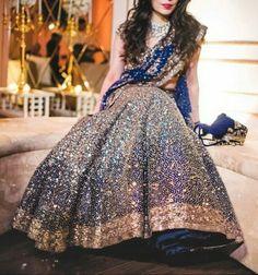 Bridal Lehenga Designs For Reception In India 2017 Indian Bridal Lehenga, Indian Bridal Outfits, Indian Bridal Wear, Pakistani Bridal, Pakistani Dresses, Indian Dresses, Bridal Dresses, Bride Indian, Blue Bridal