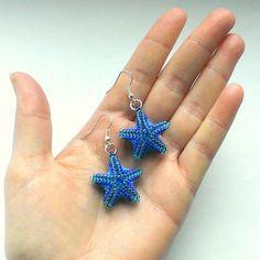 Star Shaped Earrings-Seed Bead Stars-Beadwoven by Galiga on Etsy